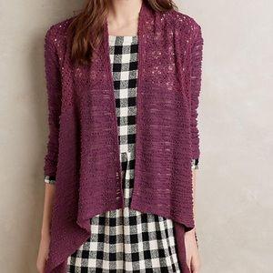 🌸NWOT ANTHRO Ella Mara Purple Crochet Cardigan